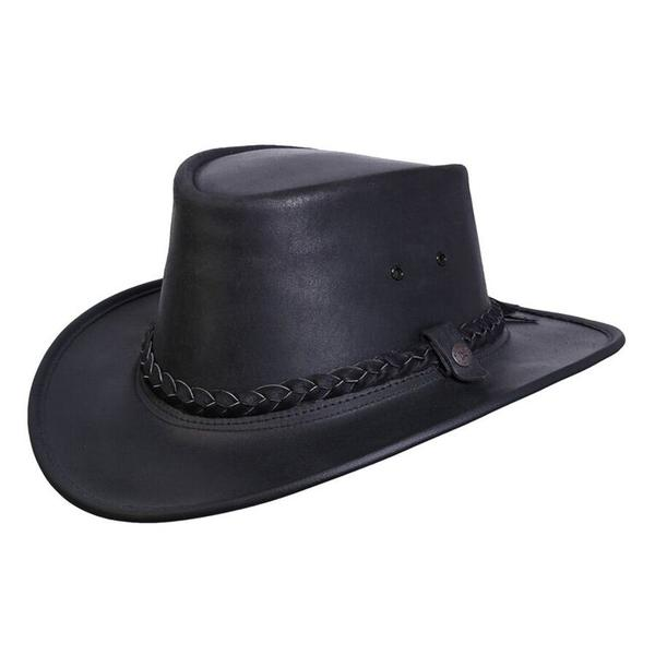 Conner Handmade Hats BC Hats: Leather Bush Walker Traveler Oily Black