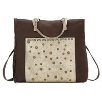 A American West Handbag Bagpack Collection: Soft Leather Western Zip Top Distressed Brown