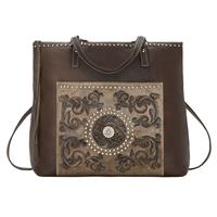 ZSold American West Handbag Bagpack Collection: Soft Leather Western Zip Top Distressed Brown SOLD