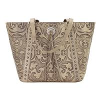 American West Handbag A Baroque Collection: Leather Zip Top Bucket Tote Sand