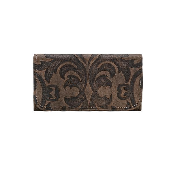 American West Handbag A Baroque Collection: Leather Tri-Fold Wallet Distressed Charcoal