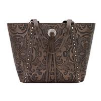 American West Handbag A Baroque Collection: Leather Zip Top Bucket Tote Distressed Charcoal