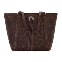 American West Handbag A Baroque Collection: Leather Zip Top Bucket Tote Chestnut
