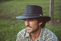 Conner Handmade Hats BC Hats: Leather Stockman Oily Black