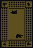 American Dakota Rug: Cabin & Camp Collection Refuge Bear Green 4x5 Drop Ship
