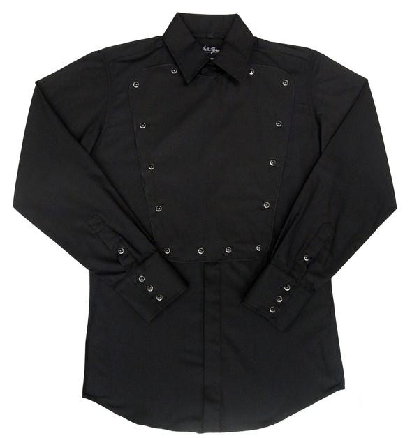 White Horse Men's Vintage Western Shirt: Old West Bib Black