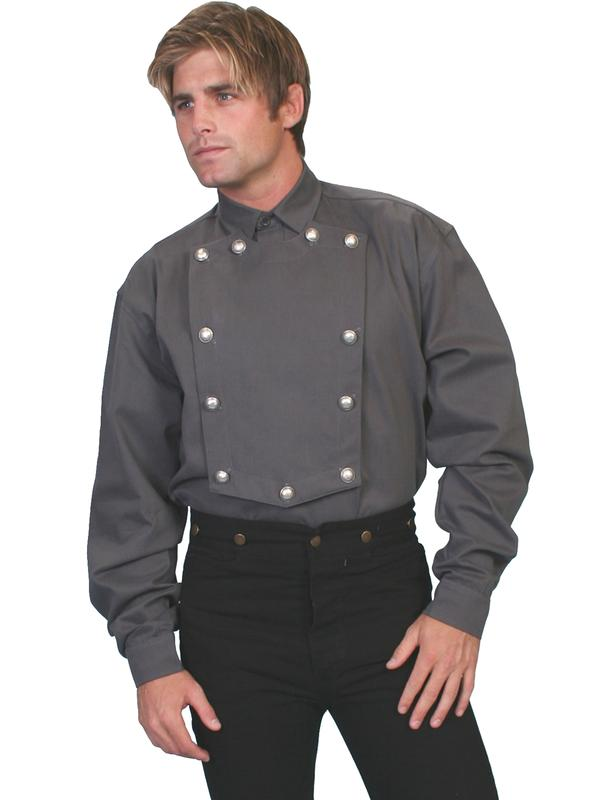 Scully Men's Old West Shirt: Wahmaker Cotton Bib Gray Backordered
