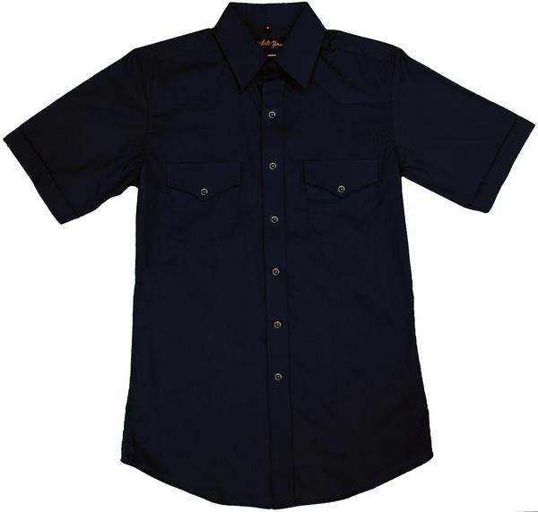 White Horse Men's Western Short Sleeve Shirt: Solid Black