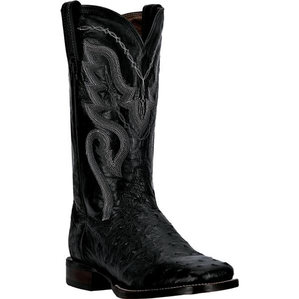 Men's Dan Post Boots Cowboy Certified Western Exotic: Cowboy Certified Ostrich Chandler Square Toe Black D, EW 7-13