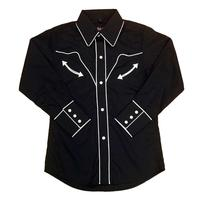White Horse Children's Vintage Western Shirt: Retro Piping Black