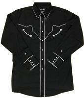 White Horse Men's Vintage Western Shirt: Retro Solid with Piping Black