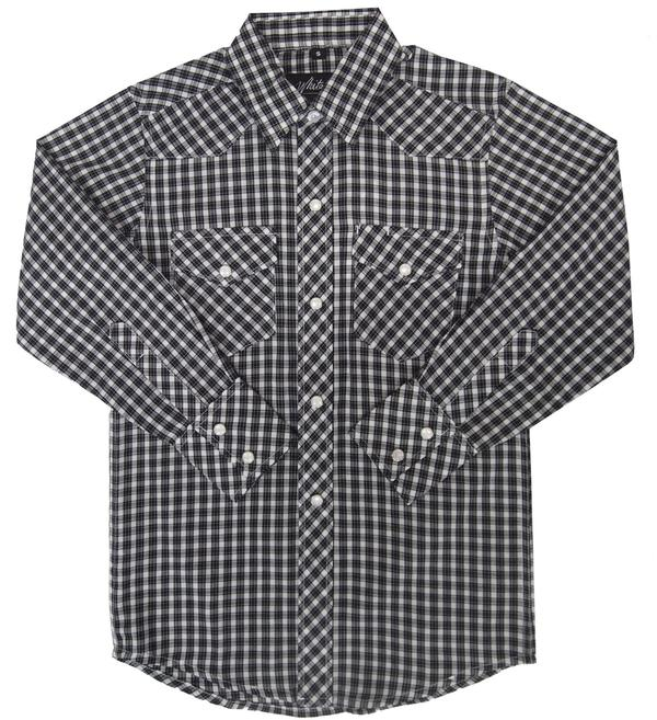 White Horse Children's Western Shirt: Plaid Black White