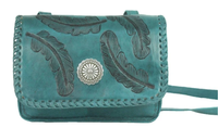 A American West Handbag Sacred Bird Collection: Leather Crossbody Flap Turquoise