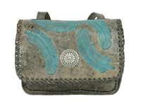 A American West Handbag Sacred Bird Collection: Leather Crossbody Flap Charcoal and Turquoise
