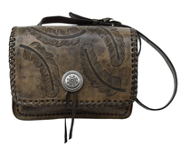 A American West Handbag Sacred Bird Collection: Leather Crossbody Flap Distressed Charcoal