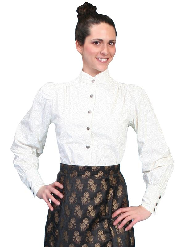 Scully Ladies' Old West Blouse: Wahmaker Victorian Cotton Ivory