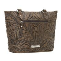 A American West Handbag Blue Ridge Collection: Leather Zip Top Bucket Tote Charcoal Brown