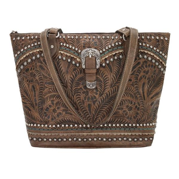 A American West Handbag Blue Ridge Collection: Leather Zip Tote Top Charcoal Brown