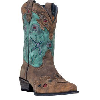 Children's Dan Post Boots Western Fashion: Children's Vintage Blue Bird Teal 8.5 - 3.0