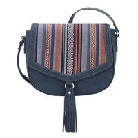 A Bandana Handbag Boho Rainbow Collection: Western Flap Crossbody Bag Denim