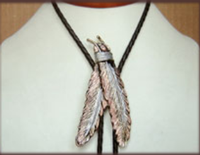 Rockmount Ranch Wear Accessory: Bolo Tie Tri-Color Feathers