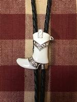 Rockmount Ranch Wear Accessory: Bolo Tie Boot Enamel White