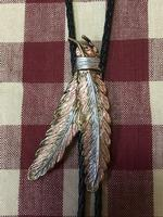 Rockmount Ranch Wear Accessory: Bolo Tie Tri-Color Feathers Backordered