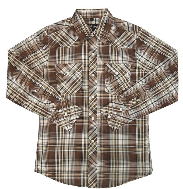 White Horse Children's Western Shirt: Plaid Brown