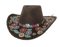 Bullhide Hats: Decorated Wool Country Love Song Chocolate