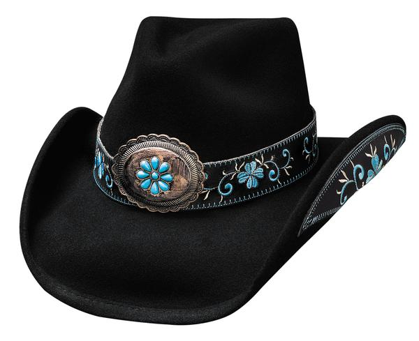 Bullhide Hats: Decorated Felt All For Good Black Blue