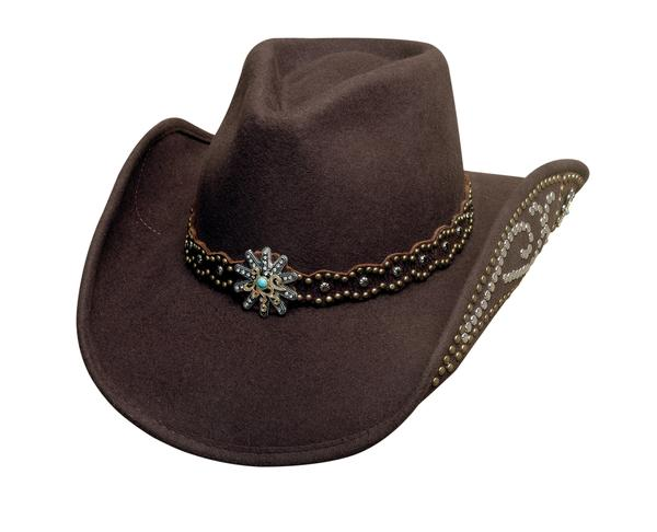 Bullhide Hats: Decorated Felt Your Everything Chocolate