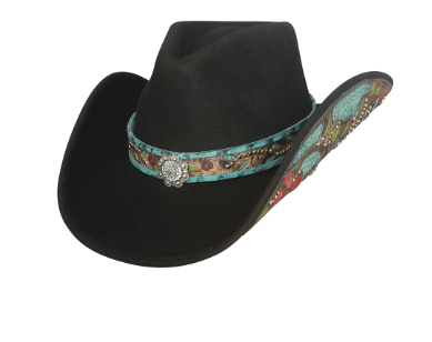 Bullhide Hats: Decorated Felt Crazy Beautiful Black