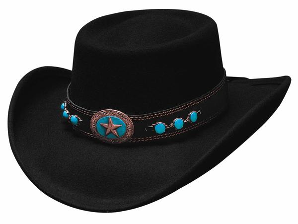 Bullhide Hats: Fashion Felt Lucky 4 U Black
