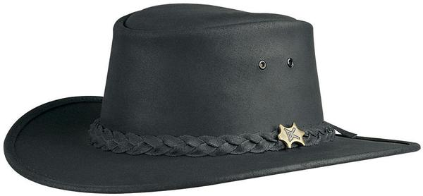 Conner Handmade Hats BC Hats: Leather Bush Walker Oily Black S-3XL