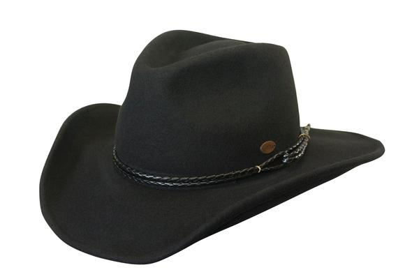 Conner Handmade Hats Cowboy Western Style: Wool Outlaw Black S-XL