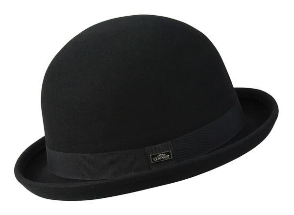 Conner Handmade Hats Victorian and Old West Hat: Steampunk Derby Bowler Wool Black