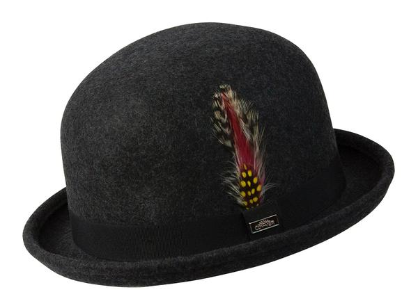 Conner Handmade Hats Victorian and Old West: Steampunk Derby Bowler Wool Hat Grey Mix