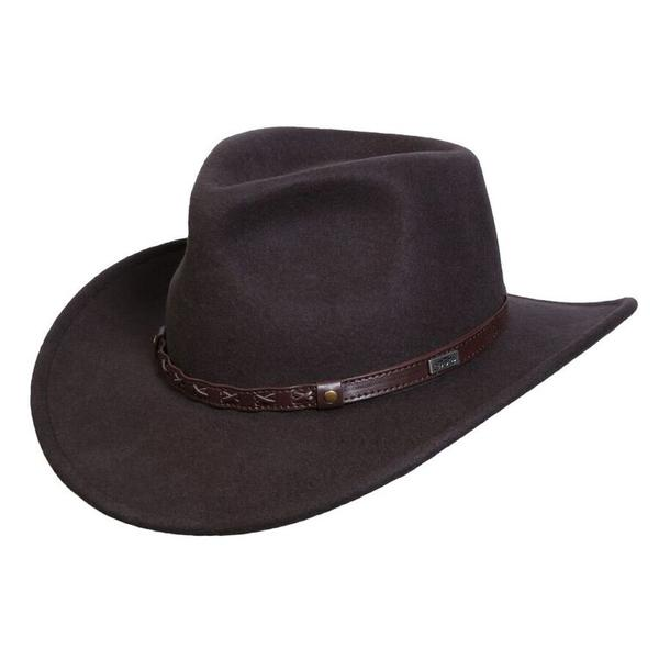 Conner Handmade Hats Cowboy Western Style: Wool Crossroads Brown Backordered