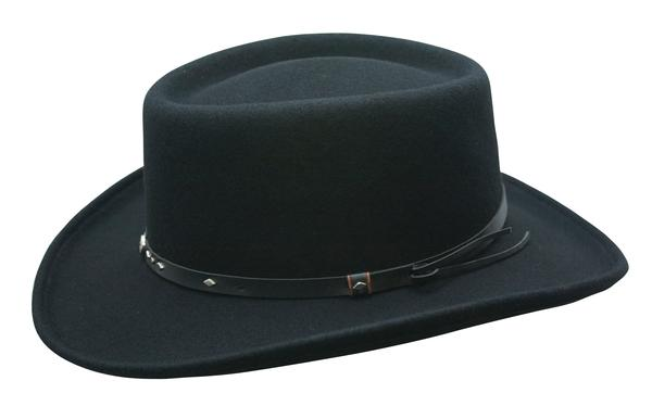 Conner Handmade Hats Cowboy Western Style: Wool Gambler with Leather Hatband and Conchos Black