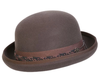 Conner Handmade Hats Victorian and Old West: Steampunk Carson City Bowler Cotton Braid Trim Crushable Brown