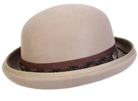 Conner Handmade Hats Victorian and Old West: Steampunk Carson City Bowler Cotton Braid Trim Crushable Putty