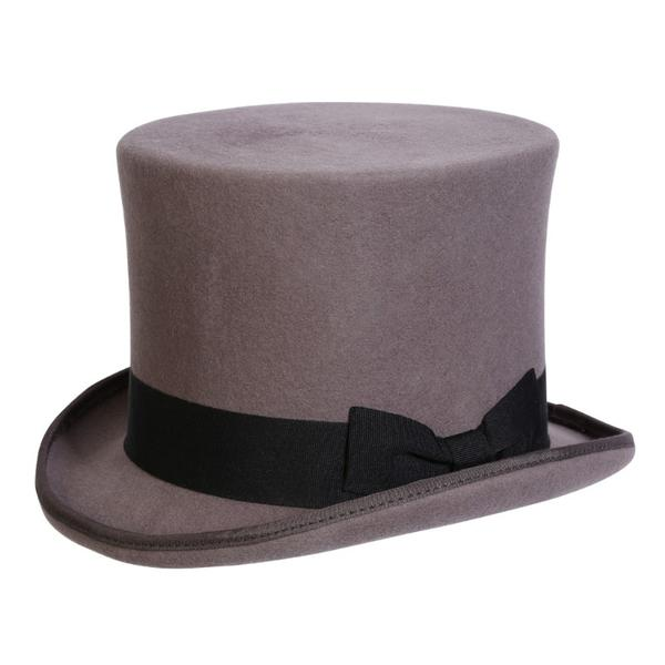 Conner Handmade Hats Victorian and Old West: Steampunk Edward Top Hat Grey