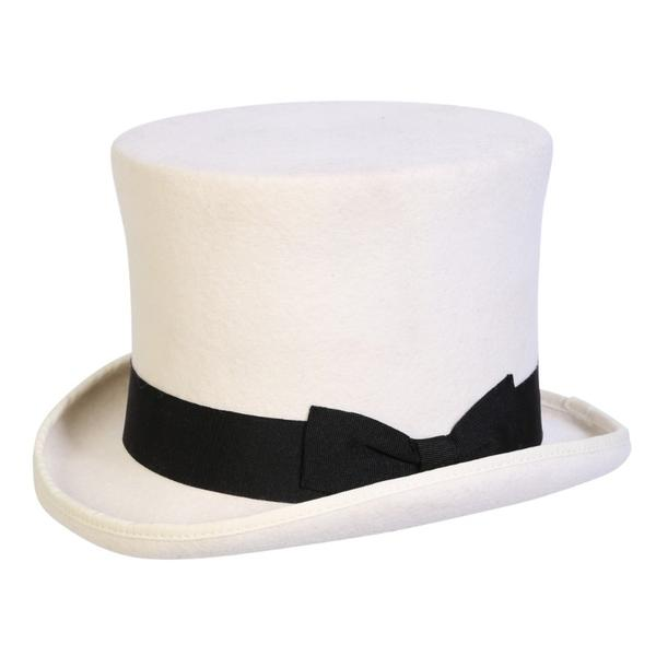 Conner Handmade Hats Victorian and Old West Hat: Steampunk Edward Top Hat White