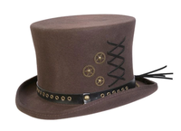 Conner Handmade Hats Victorian and Old West: Steampunk Top Hat w Clock Wheels Brown