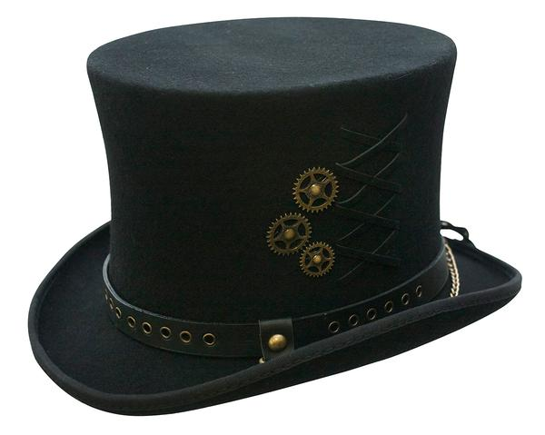 097e7fb83af1 Conner Handmade Hats Victorian and Old West Hat: Steampunk Top Hat w Clock  Wheels Black