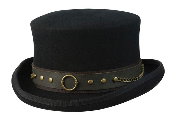 Conner Handmade Hats Victorian and Old West: Steampunk Jubilee Top Hat with Chains Black Backordered