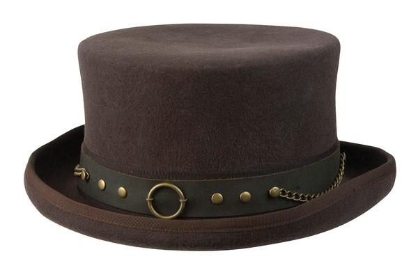 1a284482be7aa3 Conner Handmade Hats Victorian and Old West Hat: Steampunk Jubilee Top Hat  with Chains Brown