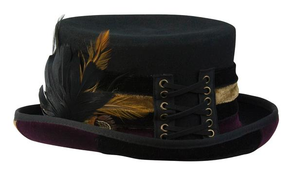 Conner Handmade Hats Victorian and Old West Hat: Steampunk Love Top Hat Velvet Trim Black One Size