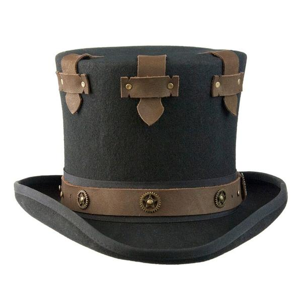 Conner Handmade Hats Victorian and Old West: Steampunk Top Hat with Brass Wheels and Secret Compartment
