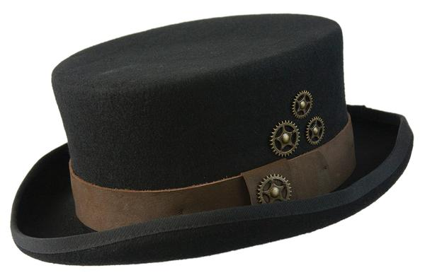c1de8ebee1c1 Conner Handmade Hats Victorian and Old West Hat: Steampunk Time Travel Top  Hat with Clock Wheels Black